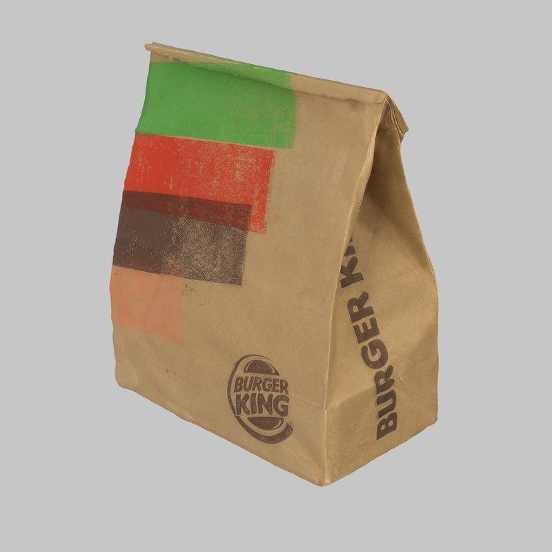 3d burger king bag