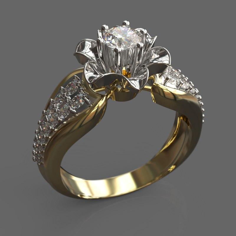 ring female silver 3d obj
