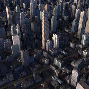 3d model cityscape scene highrise