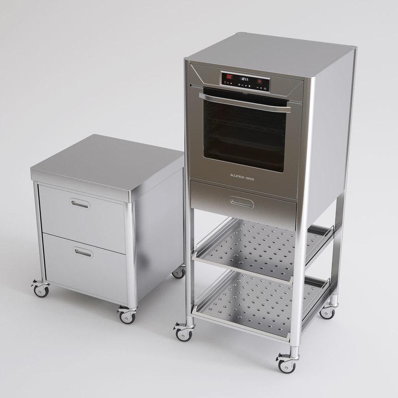 3d model alpes inox kitchen furniture