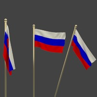 national flag russia 3d model