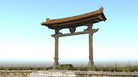 japanese ancient door 2 3d model