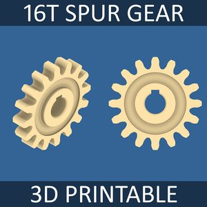 free 16-tooth spur gear 3d model