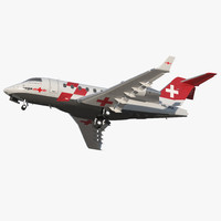 Swiss Air Ambulance Jet Bombardier Challenger 604 Rigged 3D Model