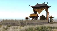 3d japanese ancient architecture altar