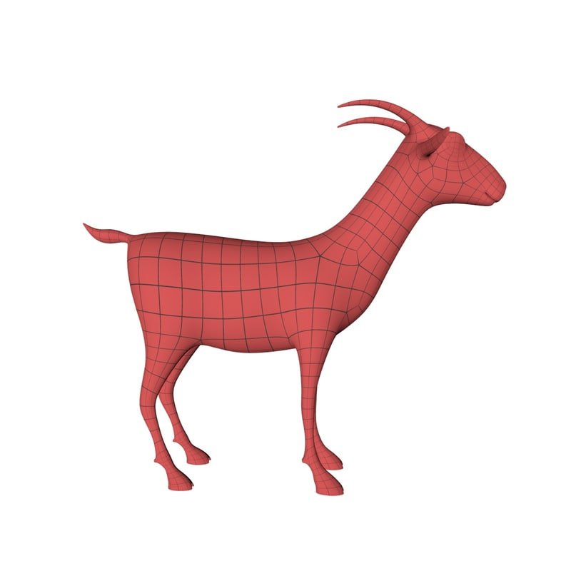 base mesh cartoon goat 3d model