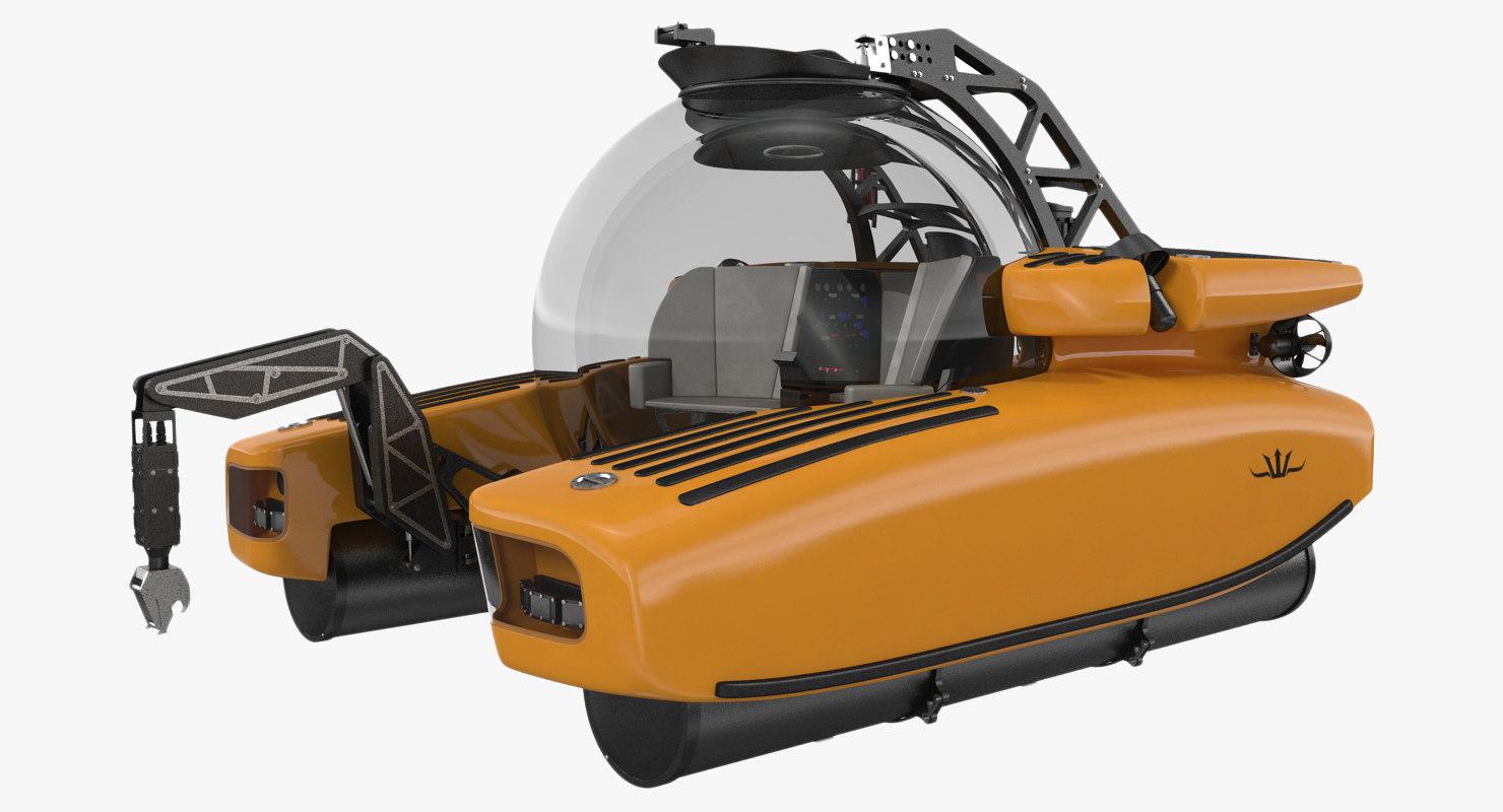 3d model personal submarine triton 3300