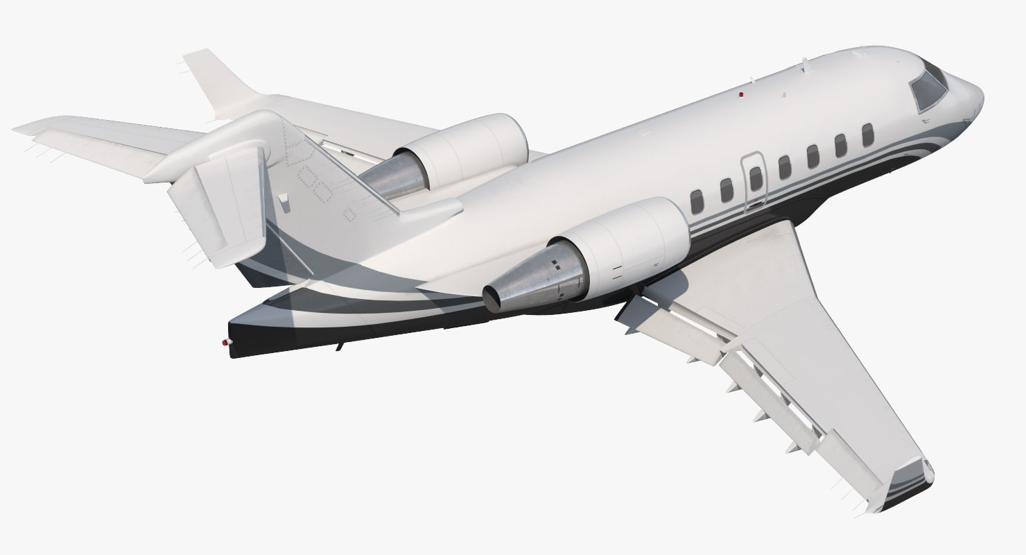 business jet bombardier challenger 3d max