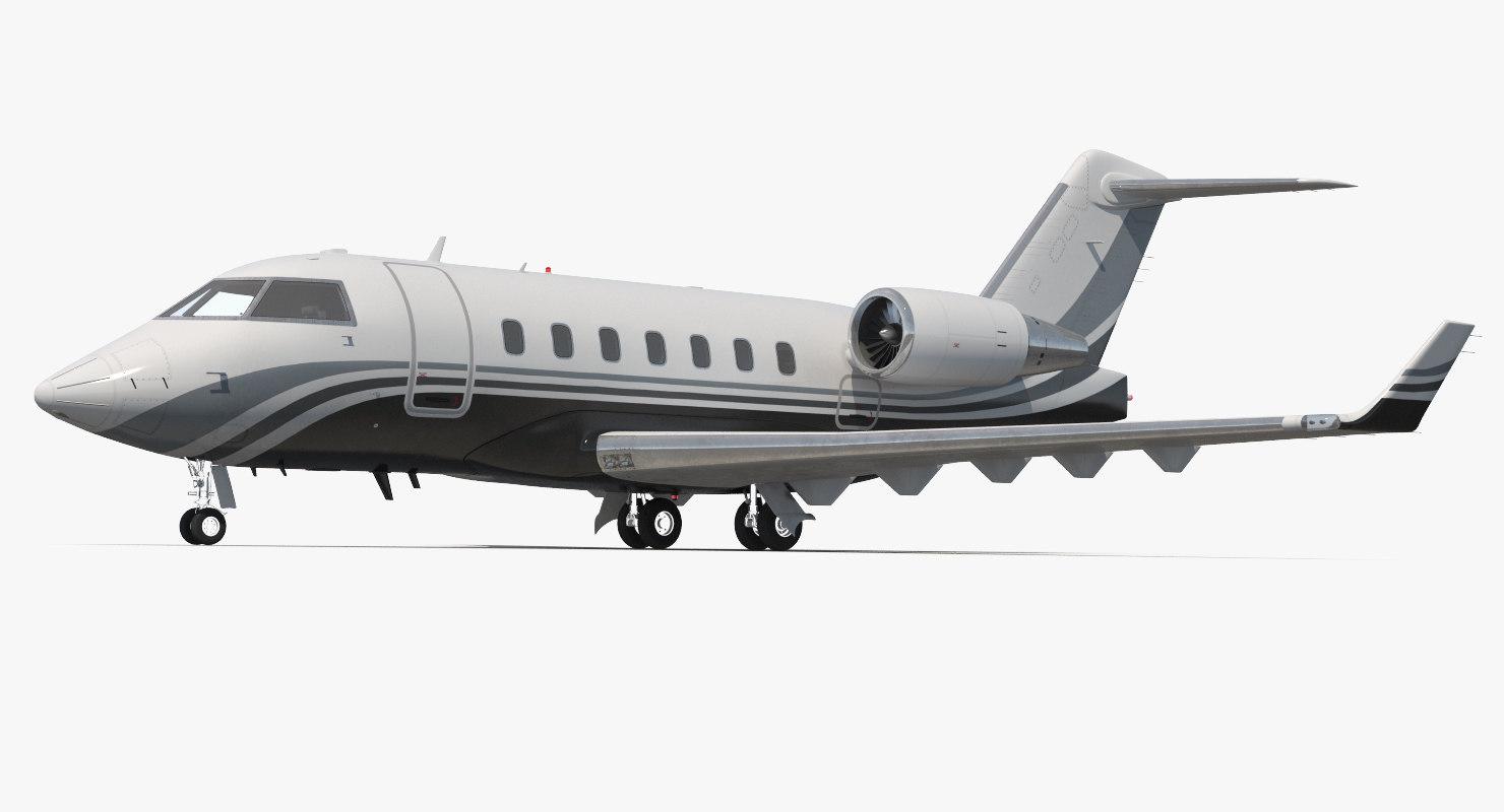 business jet bombardier challenger 3d model