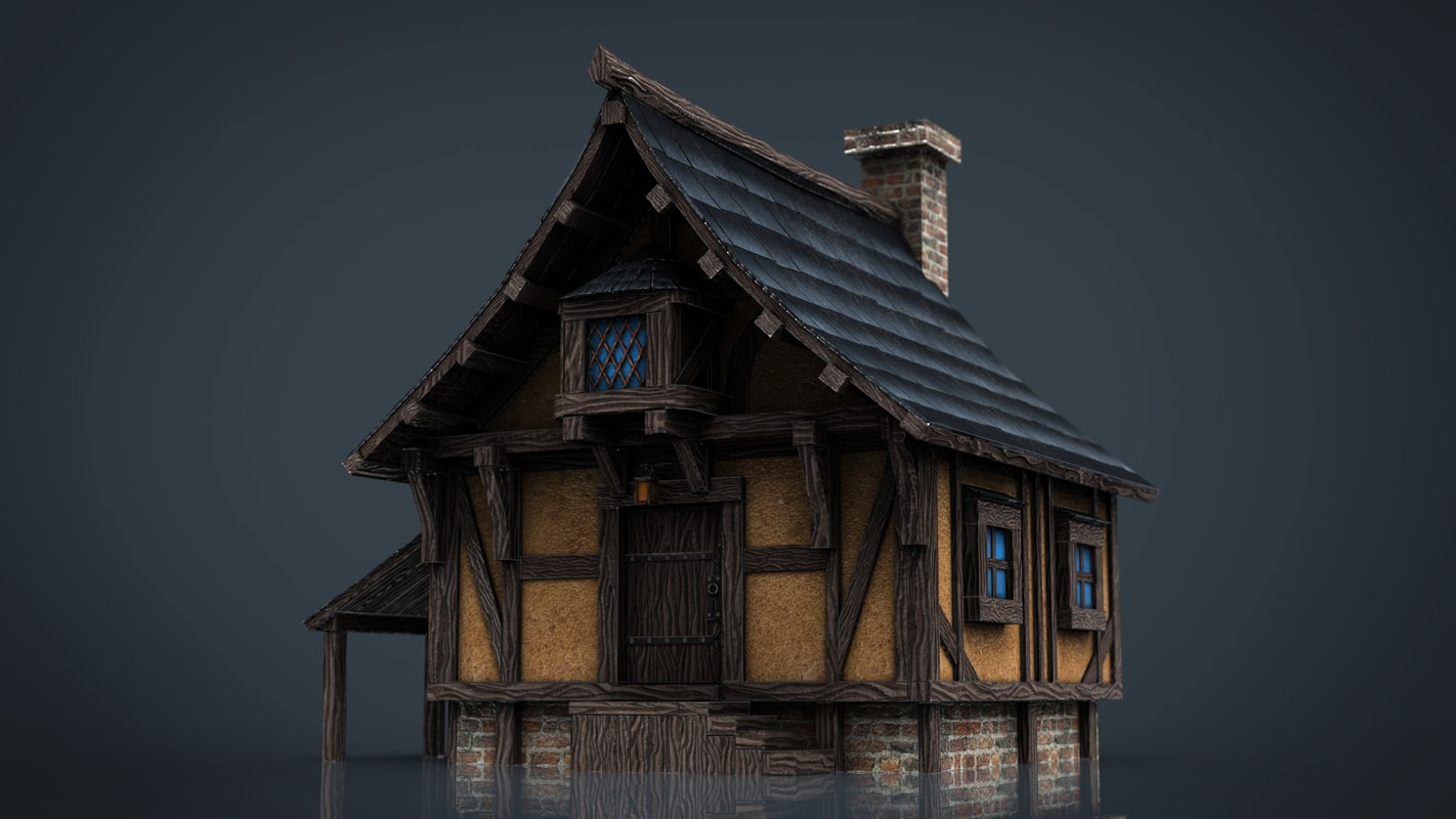 3d model medieval town house 1