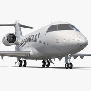 3d bombardier challenger 604 business jet
