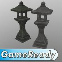 3d japanese stone lantern model