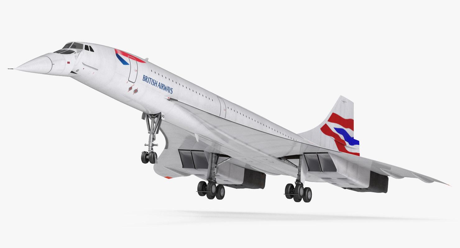 3d model concorde supersonic passenger jet