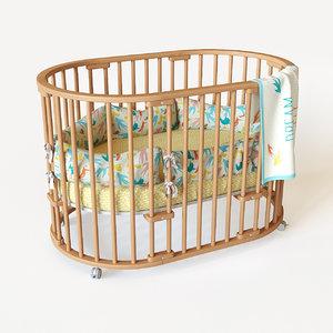 3d crib moon bed