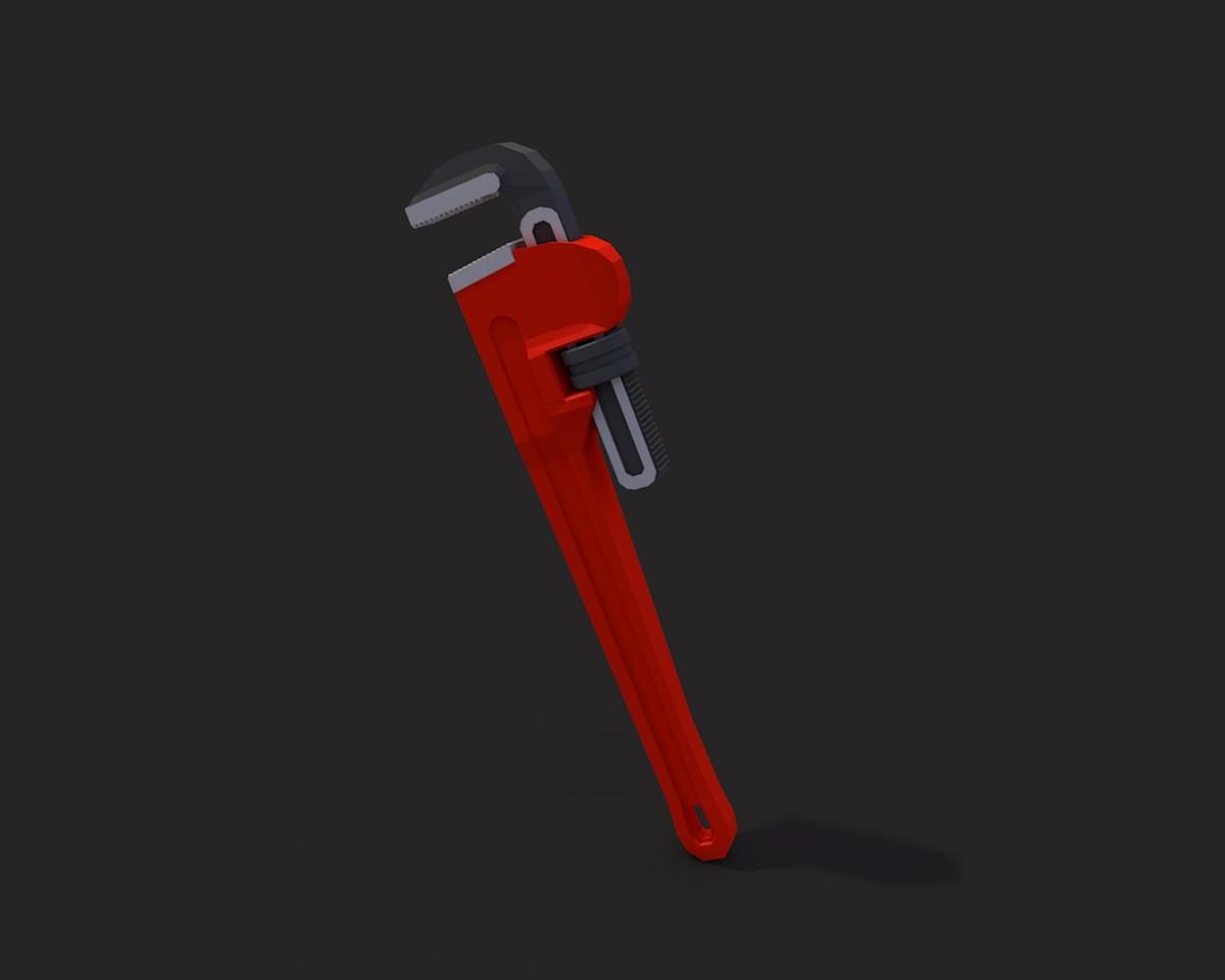 pipe wrench v 1 3d model