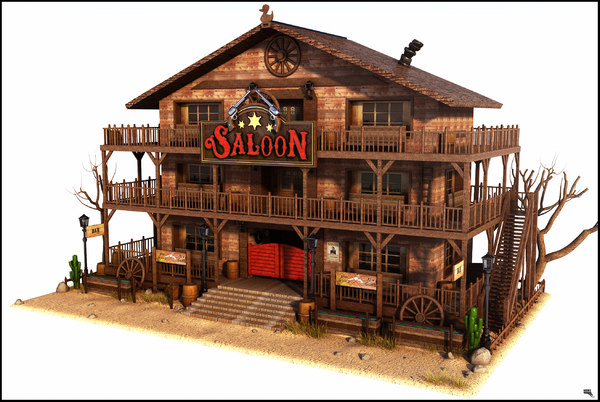 3d model cartoon western saloon