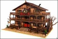 cartoon western saloon 3d model