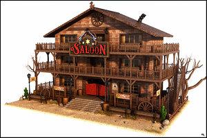 3d model cartoon western saloon