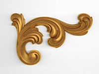 3d model carved decor scroll