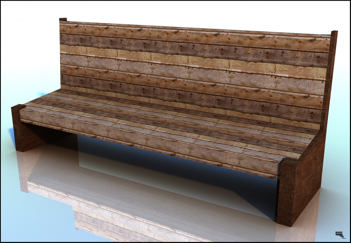 bench wood old obj free