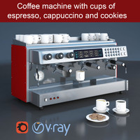 Professional commercial coffee maker machine with cups of espresso, cappuccino and cookies