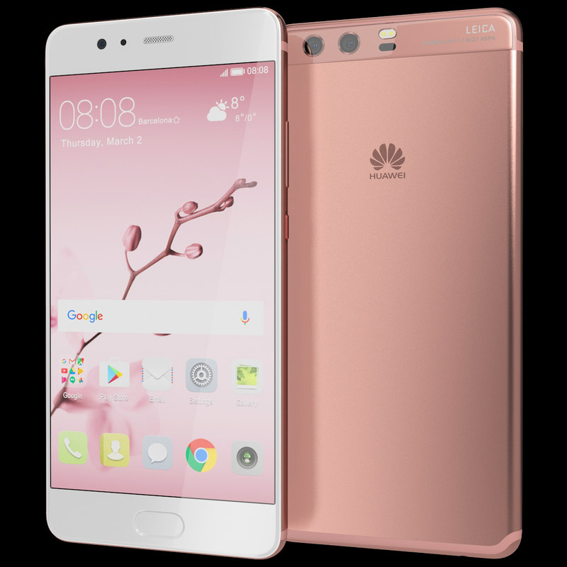 realistic huawei p10 rose 3d model