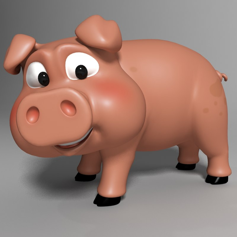 cute cartoon pig rigged 3d max