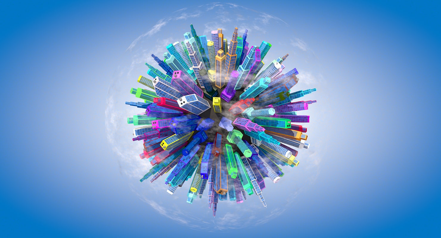 3d planet cityscape model