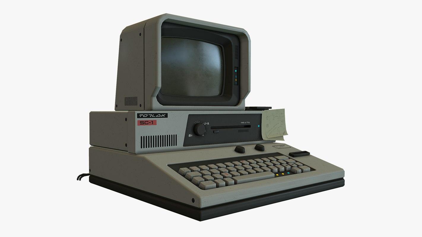 3d retro sci fi computer