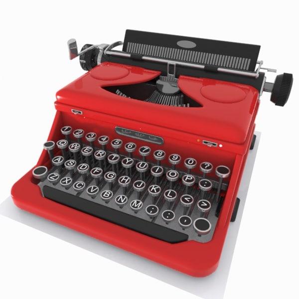 3d model typewriter toon