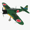 Fighter Aircraft A6M Zero Japanese Navy WWII 3D Model