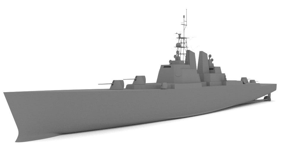 3d model blender military warship