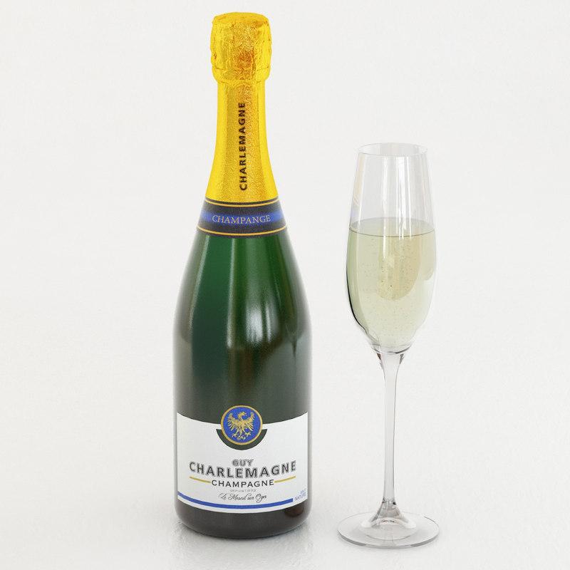 champagne glass 3d model