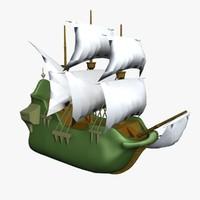 3ds cartoon ship boat