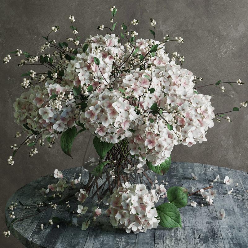 3d flowers hydrangea