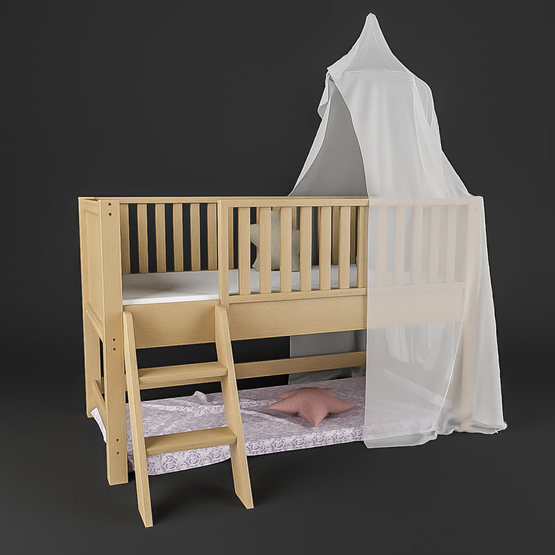 3d canopy bed kids model
