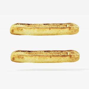 3d model baguette scanned displace