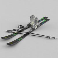 alpine boots skis poles 3d max