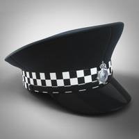 3d uk police hat model