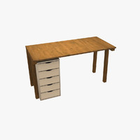 3d desk office cabinet model