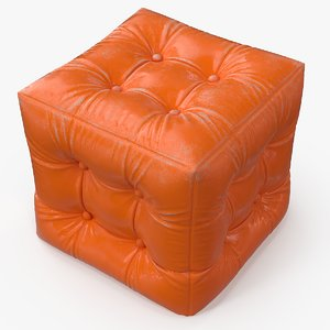 3d pouf worn leather model