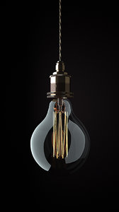 3d bulb edison light model