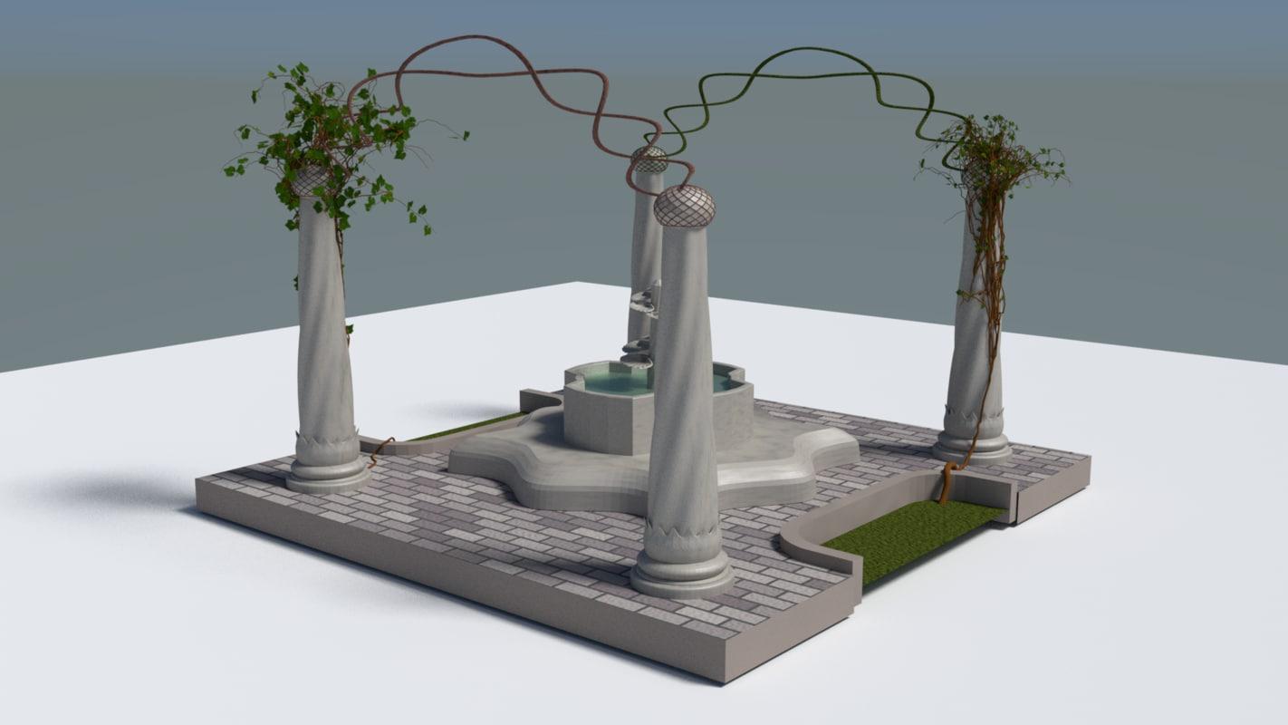 3d model fountain oriental