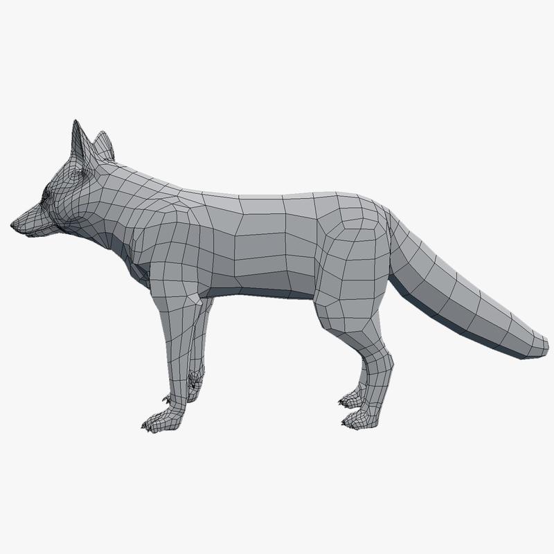 fox vulpes 3d obj