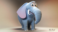 3d cartoon elephant model