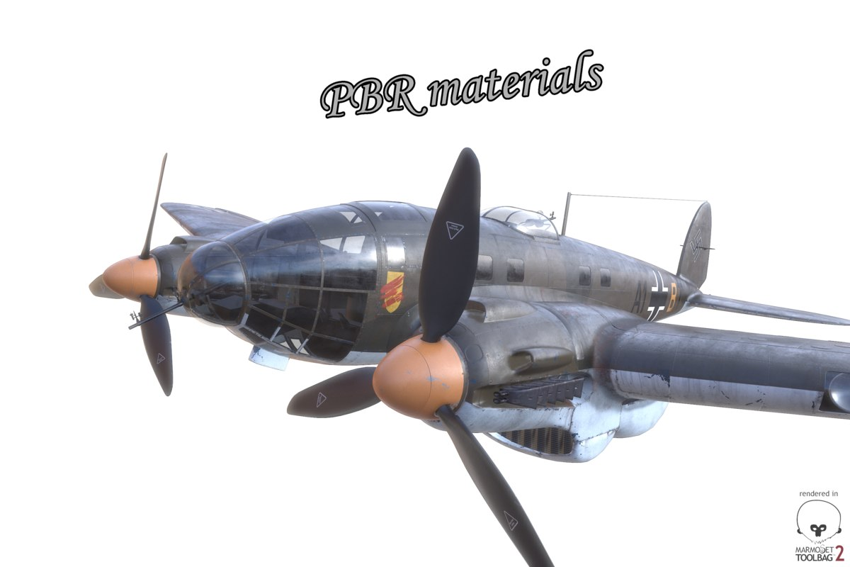3d aircraft pbr he-111 german