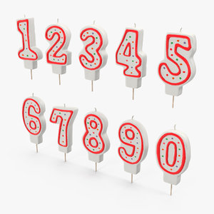 birthday number candles set c4d