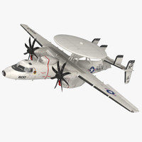 Grumman E-2 Hawkeye Tactical Early Warning Aircraft Rigged 3D Model