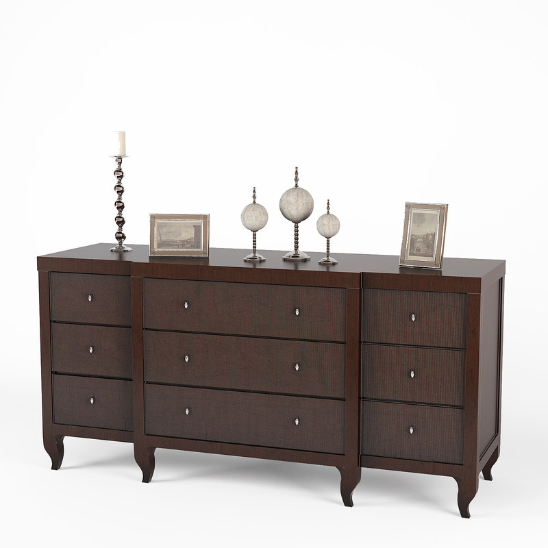 baker mahogany cabinet 3d model