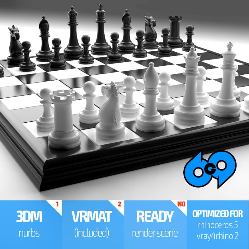 3d model rhino chess set